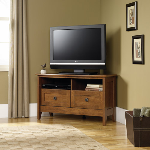 "Sauder August Hill Corner TV Stand for TVs up to 39"", Oiled Oak Finish"