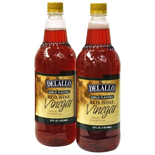 DeLallo Garlic Flavored Red Wine Vinegar, 32 fl oz