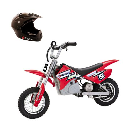 Razor MX350 Dirt Rocket Kids Electric Toy Motocross Bike, Red + Full Face (Red Rocket)