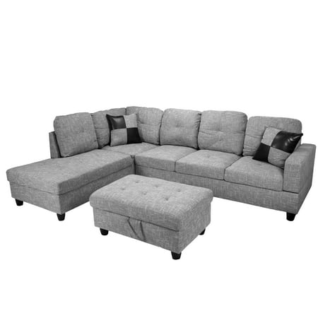 Raphael Sectional Sofa Left Facing with Ottoman, Multiple (Cotton Sectional Sofa)