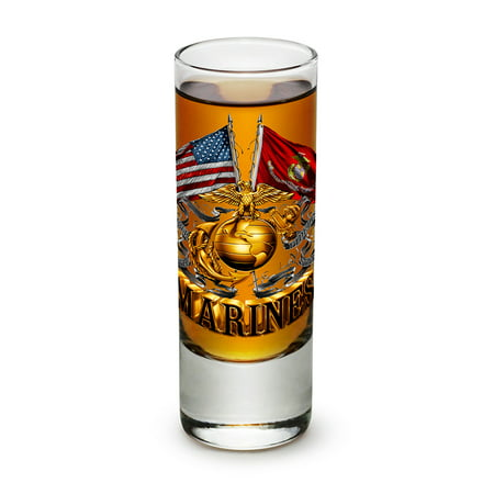 Shot Glasses – US Marine Corps Gifts for Men or Women – Double Flag Gold Marine Corps Shot Glasses – USMC Glass Shot Glasses with Logo - Set of 96 (2 Oz) (Golf Shot Glasses)