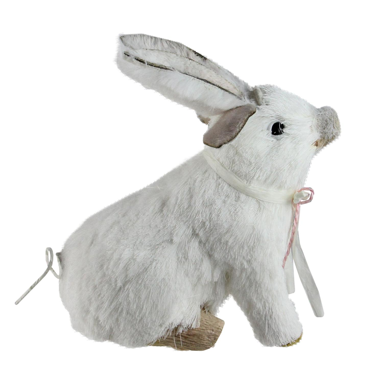 """7"""" Easter White Playful Piglet with Silly Bunny Rabbit Ears Spring Figure"""
