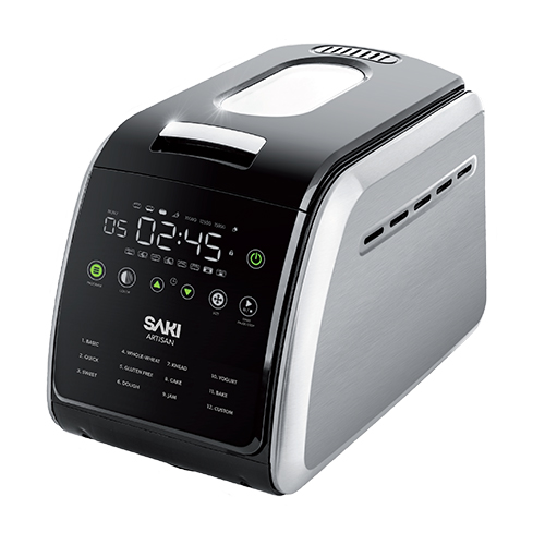 SAKI 3.3 LB Large Bread Machine Keep Warm Mode with Nonstick Ceramic Pan /& Large Digital Touch Panel 3 Loaf Sizes with 3 Crust Colors 12-in-1 Programmable XL Bread Maker