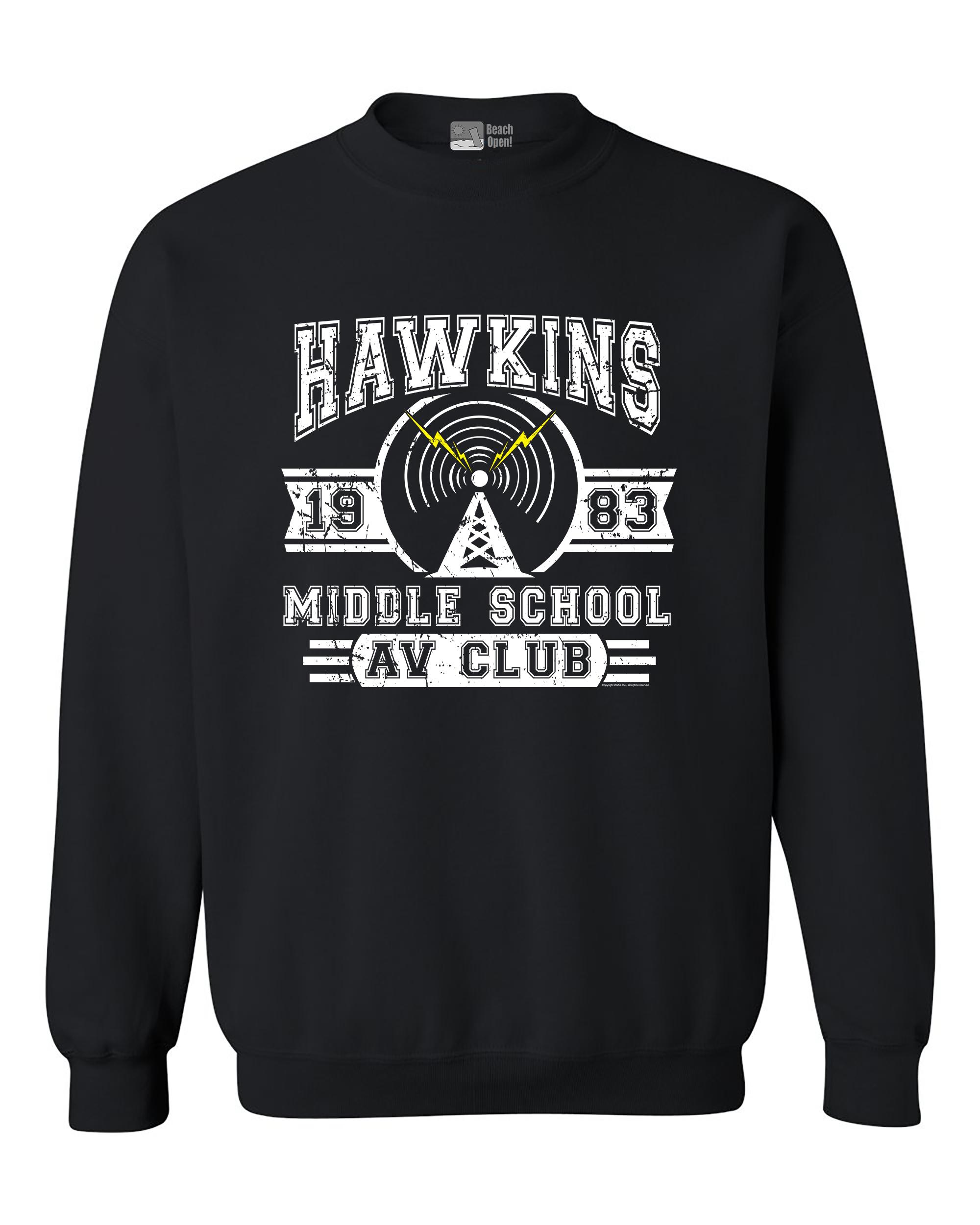 Hawkins Lab Middle School 1983 AV Club Parody Funny DT Crewneck Sweatshirt