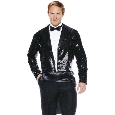Black Sequin with Coat Tail Men's Adult Halloween - Halloween Sequin Jacket