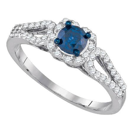 10kt White Gold Womens Round Blue Color Enhanced Diamond Solitaire Bridal Wedding Engagement Ring 3/4 Cttw - April Wedding Colors