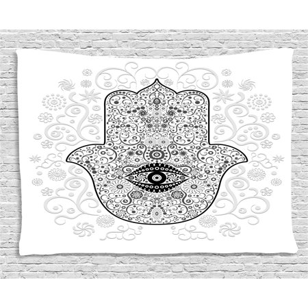 Hamsa Tapestry, Divine Protection Magical Good Luck Charm Talisman on Gentle Floral Backdrop, Wall Hanging for Bedroom Living Room Dorm Decor, 80W X 60L Inches, White Black Gray, by Ambesonne