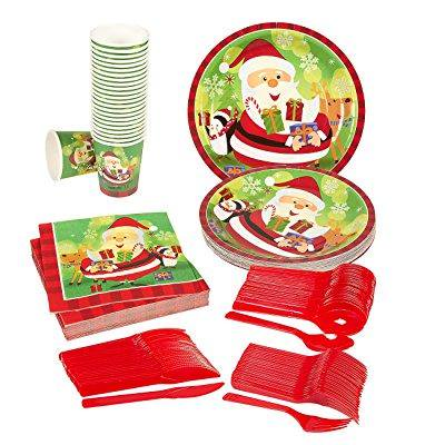 Christmas Paper Plates And Napkins.Disposable Dinnerware Set Serves 24 Christmas Party
