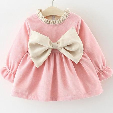 Newborn Kids Baby Girl Long Sleeve Bowknot Princess Pink Purple Party Dress Winter Autumn Cute Clothes Pink 70