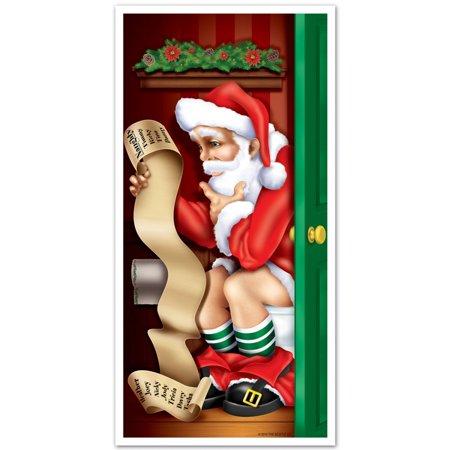 Club Pack of 12 Winter Wonderland Themed Santa Restroom Door Cover Party Decorations - Winter Wonderland Themes
