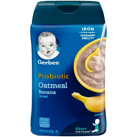 Gerber Probiotic Oatmeal & Banana Baby Cereal, 8 (The Best Baby Cereal Brand)