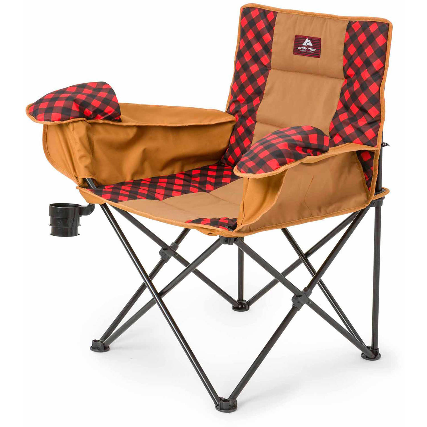 Ozark Trail Cold Weather Chair with Steel Frame, Black/Red/Warm Gray