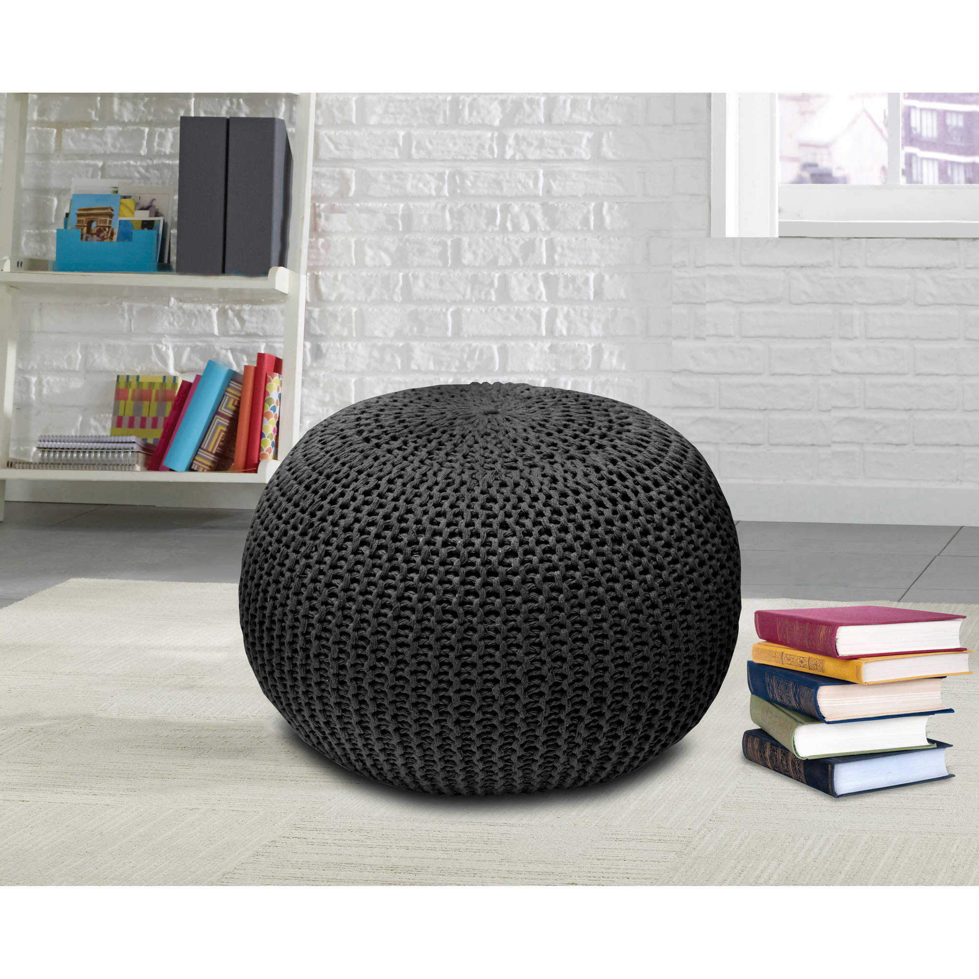 Urban Shop Round Knit Pouf