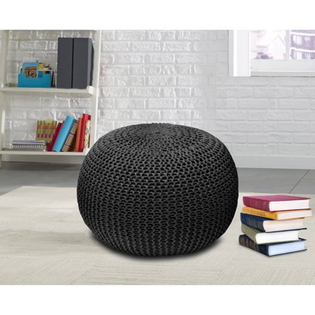 Urban Shop Round Knit Pouf Walmart Enchanting Knitted Poufs Ottomans