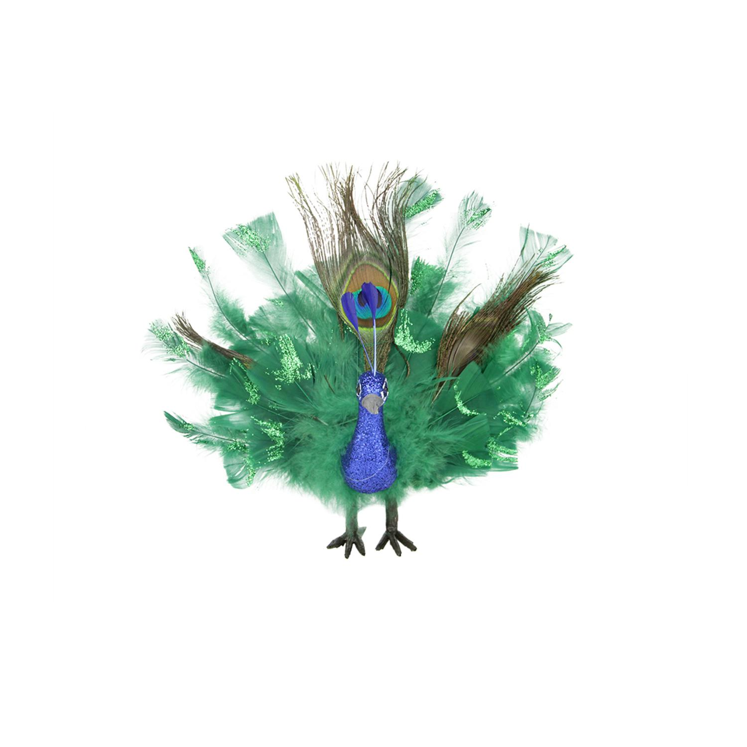 """7"""" Colorful Green Regal Peacock Bird with Open Tail Feathers Christmas Decoration - image 2 of 2"""