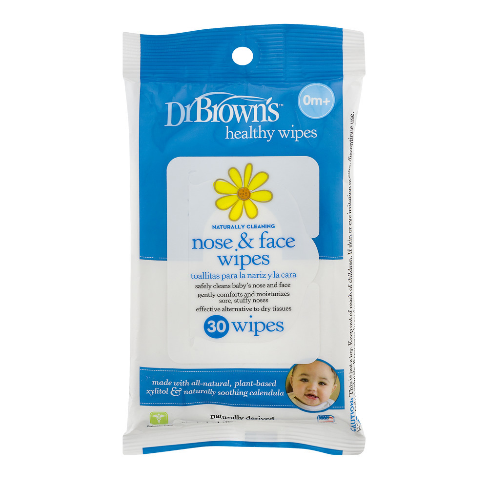 Dr Brown's, Dr. Brown's Healthy Wipes Naturally Cleaning Nose & Face Wipes - 30 CT