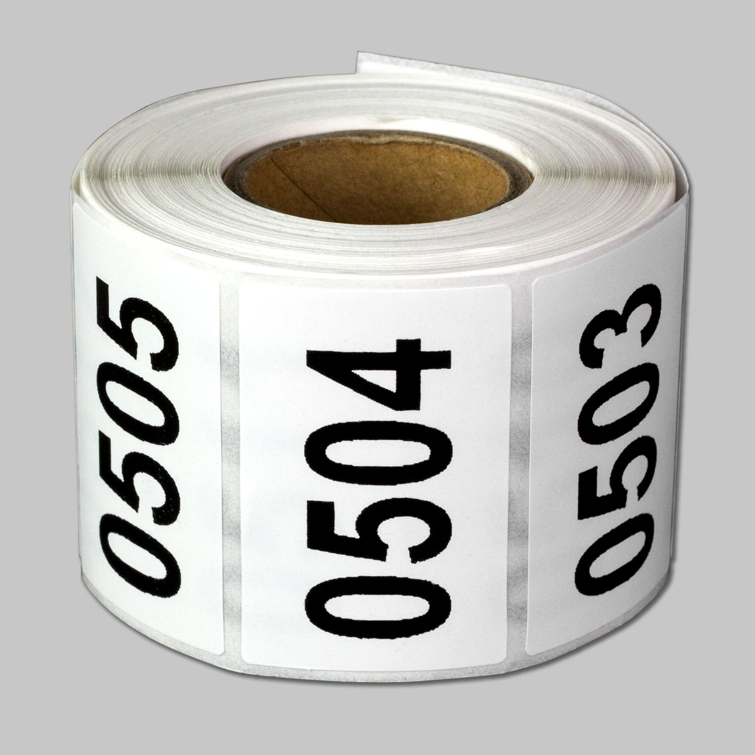 """OfficeSmartLabels 1.5"""" x 1"""" Consecutive Number Labels 0501 to 1000 for Iventory & Organization (White-Black, 500 Labels per Roll)"""