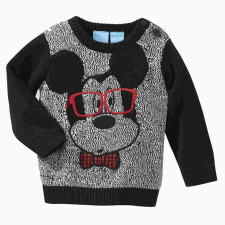 Disney Infant Boys Black & Gray Baby Mickey Mouse Smarty Pants Sweater