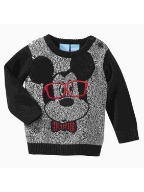Disney Infant Boys Black & Gray Baby Mickey Mouse Smarty Pants Sweater 0-3m