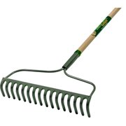Landscapers Select Bow Rake, 54 In Wood Green Grip Handle, 16 Tines