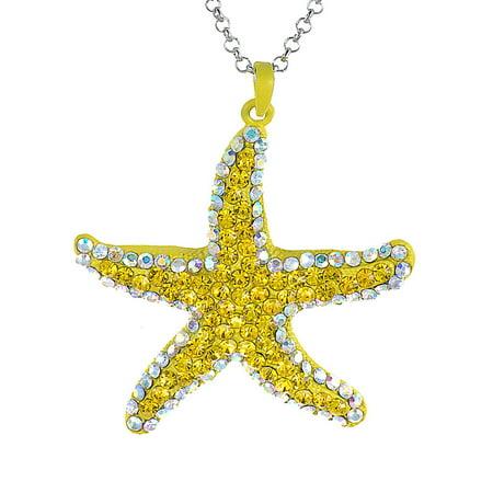 Neon Bright Mustard Yellow Starfish Crystal Rhinestone Costume Pendant Necklace - Neon Pink Necklace