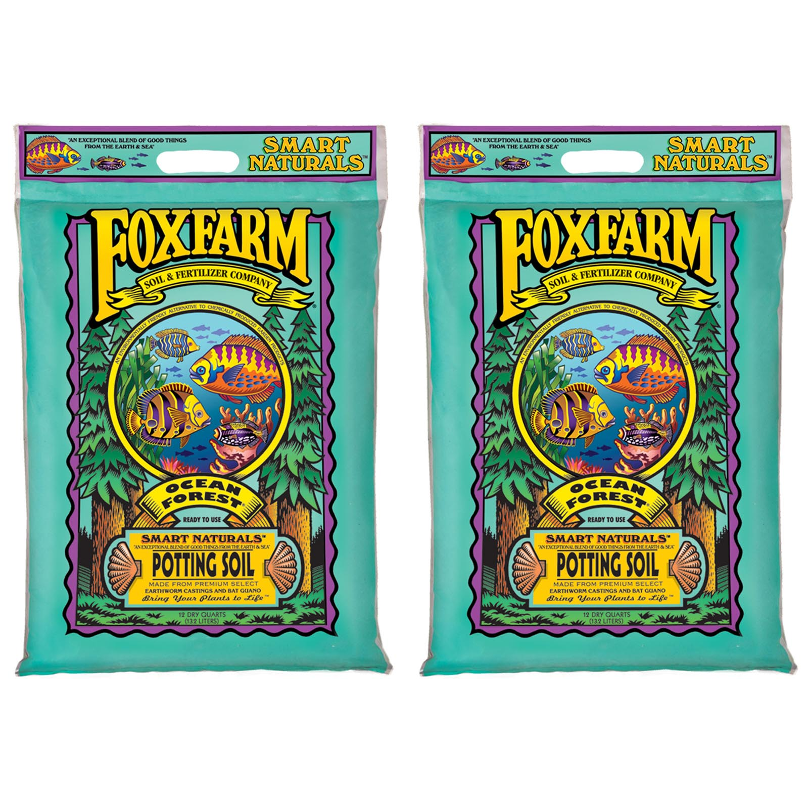 (2) FOXFARM FX14053 12 Quart Ocean Forest Garden Potting Soil Bags - 6.3-6.8 pH