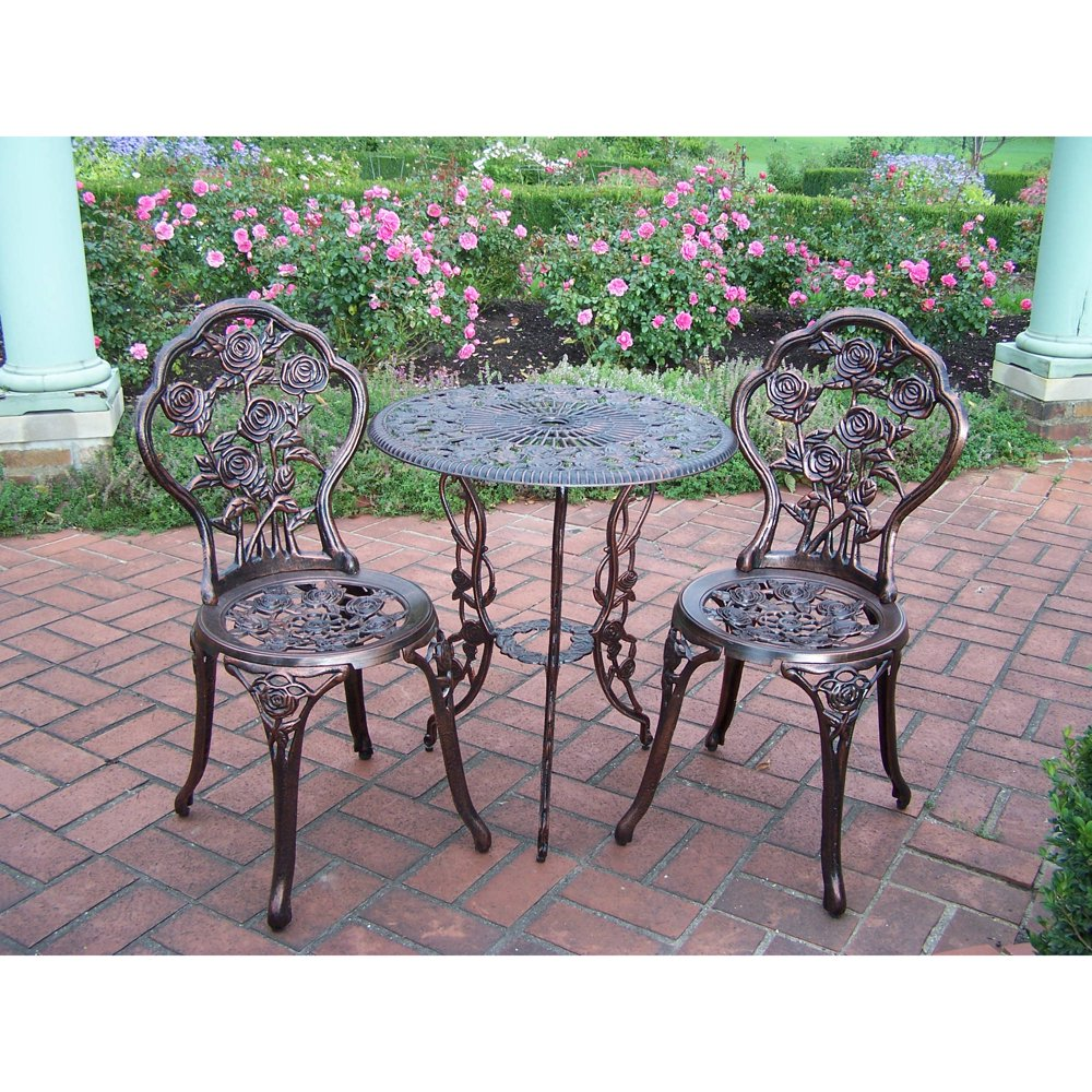 Patio furniture set 3 piece bistro wrought small iron table chairs rose 396 ebay Metal garden furniture sets