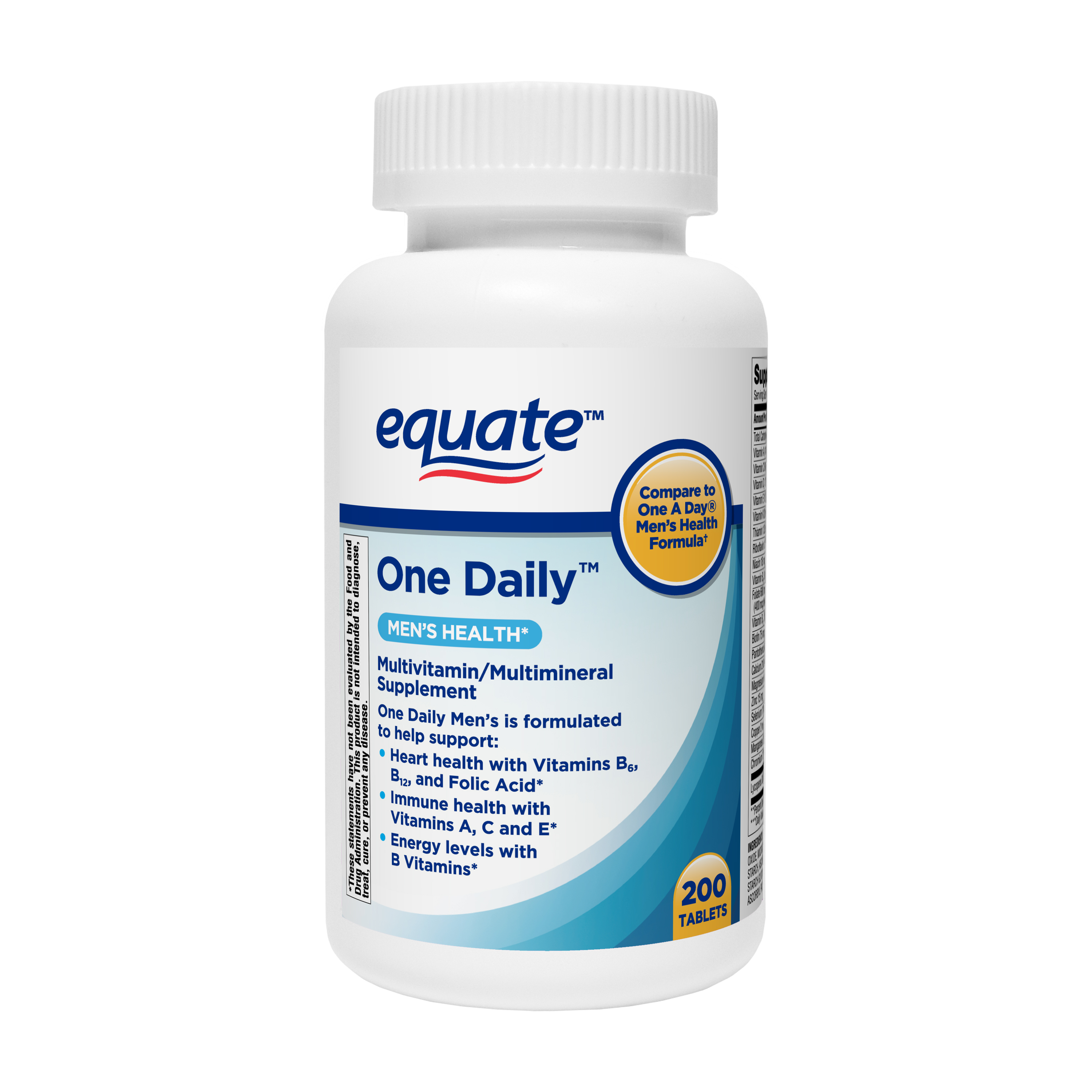 Equate One Daily Men S Health Multivitamin Multimineral Supplement Tablets 200 Count Walmart Com Walmart Com