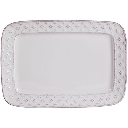 Home Essentials & Beyond 64563 12 in. Petite Fleur Rectangle Plate, Ant White - image 1 of 1