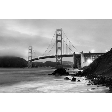 Cloudy sunset, ocean waves in San Francisco at Golden Gate Bridge from Marshall Beach Architecture Black and White Photography Landscape Print Wall Art By David -