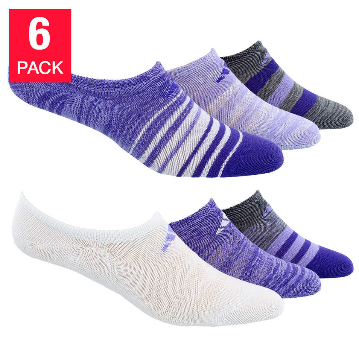 Adidas Women's Superlite no show 6 Pair Climalite Socks Size 5-10