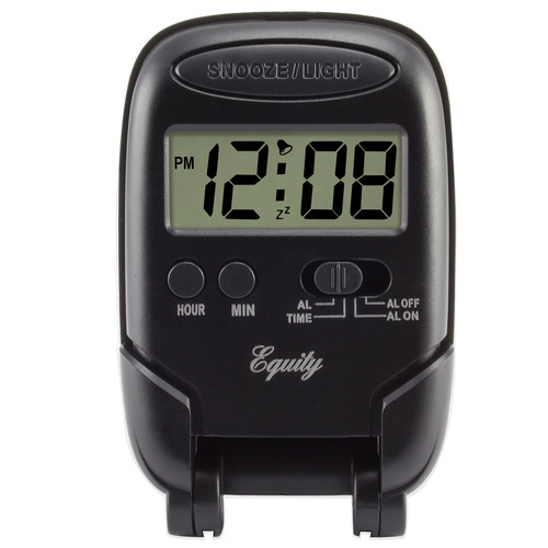 Equity By La Crosse 31302 Travel Fold-Up Alarm Clock, Black