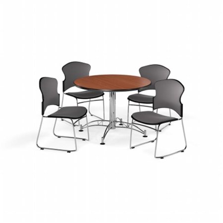 Ofm Pkg Brk 043 0015 Breakroom Package Featuring 42 In  Round Multi Purpose Table With Four Multi Use Stack Fabric Seat   Back Chairs