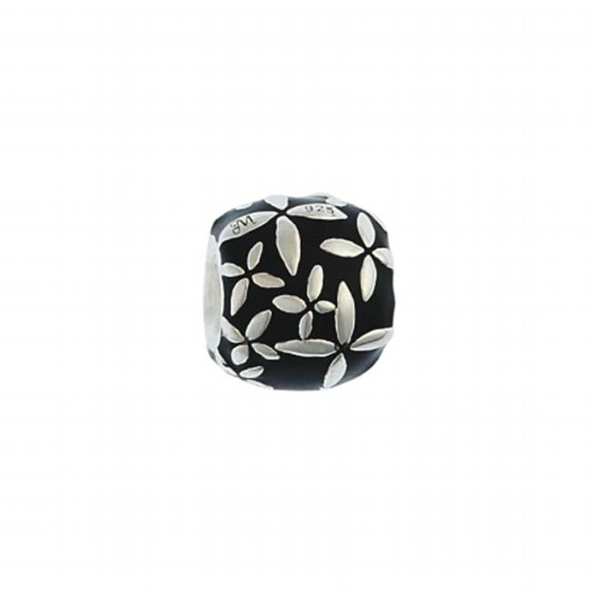 141001 Black Enamel Silver Flowers Bead in Sterling Silver with Enamel.  Weight- 4. 40g