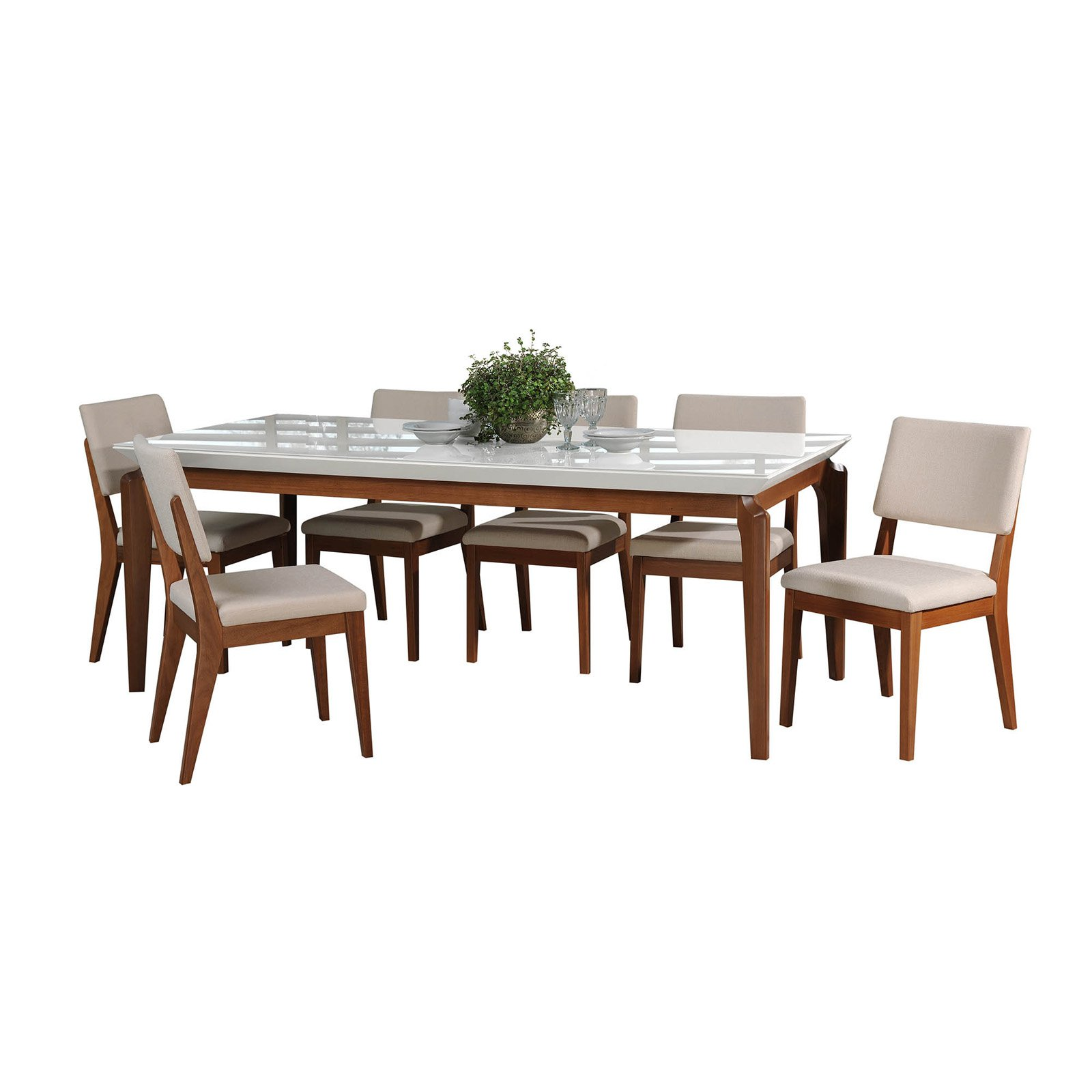 Manhattan Comfort Payson and Dover 7 Piece Dining Table Set