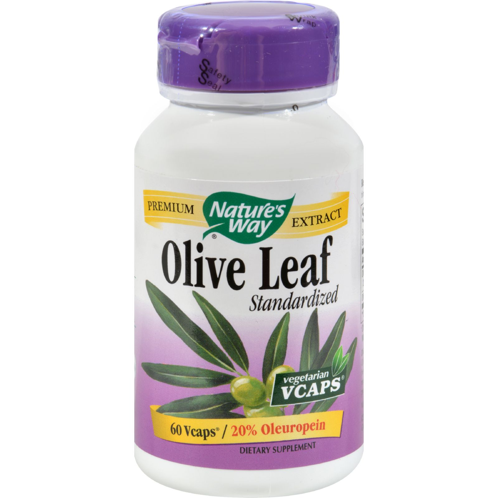 Nature's Way Olive Leaf Standardized 20% Oleuropein - 60 Vegetarian Capsules