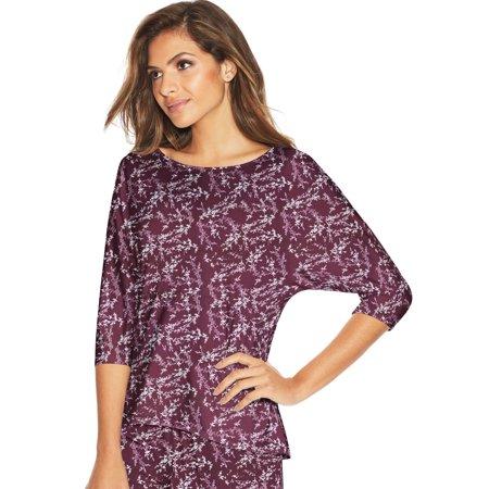 Maidenform Womens Dolman Sleeve Lounge Top, M, Purple Foil Floral