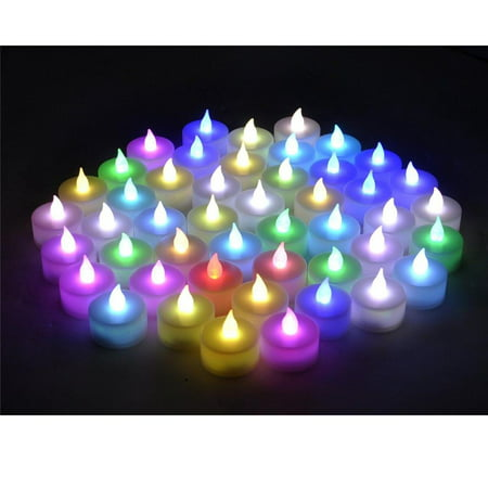 Instapark LCL-C-48 Battery-powered Flameless Pet-safe and Child-safe Wind-proof Indoor & Outdoor Decoration Color-changing LED Faux Accent Tea Light Candles, 4-Dozen per Pack - Partylite Halloween Tealights