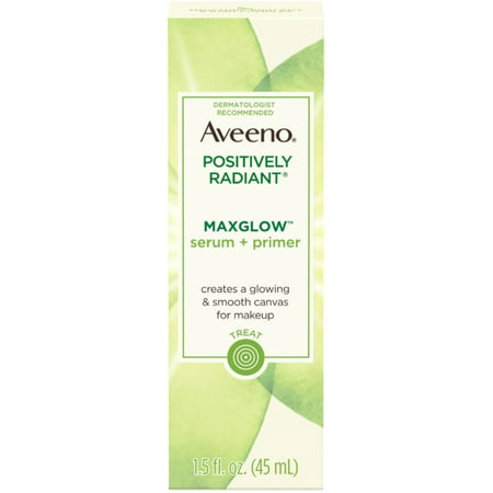 2 Pack - AVEENO Positively Radiant MaxGlow Hydrating Face Serum + Primer with Moisture Rich Soy & Kiwi Complex 1.5  oz