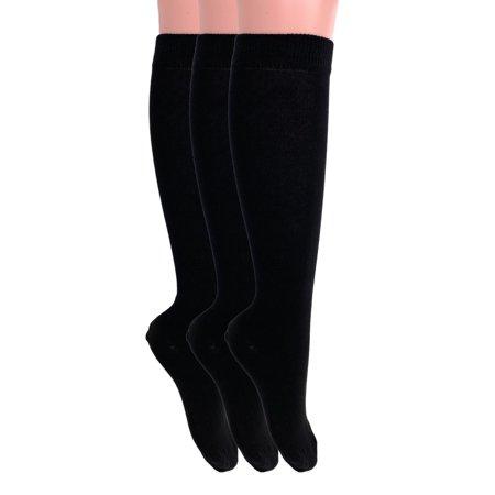 Over The Calf Socks for Men and Women Black 3 PAIRS Boot Socks Size 9-11 Womens Calf Sock