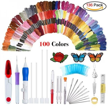 100/150 Colors Thread Embroidery Needle Set Embroidered Stitching Thread Kit DIY Sewing Accessories Tape Measure Floss Bobbins