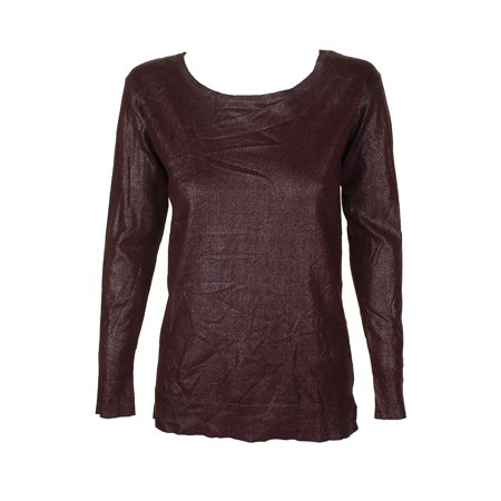 29e93aa90e Lauren Ralph Lauren Burgundy Metallic Look Boat Neck Sweater XL