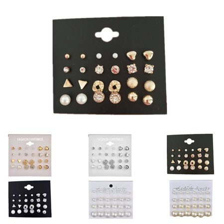outdoorline 12 Pairs Rhinestone Geometric Shaped Women Girl Earrings Ear Studs Alloy Earrings Jewerly - image 4 de 9
