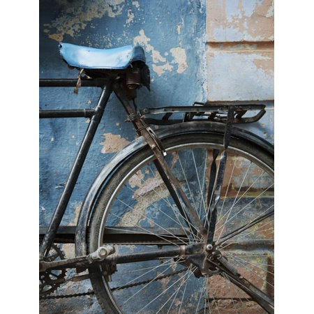 Bicycle Leaning Against Painted Wall Print Wall Art By April