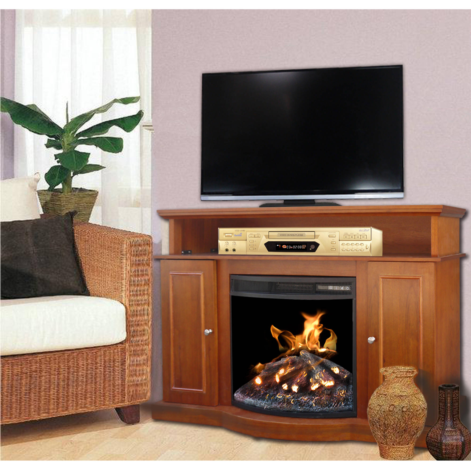 "Decor Media Fireplace, Walnut, 53"" Mantle For TV's up to 60"""