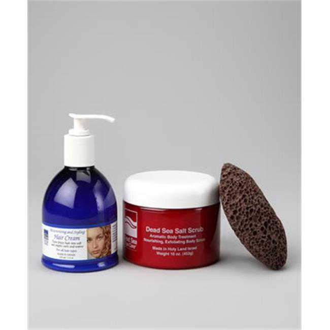 Dead Sea Spa Care DEADSEA-5 16 oz Dry Dead Sea Salt Scrub, Pumice Stone and Moisturizing Hair Cream