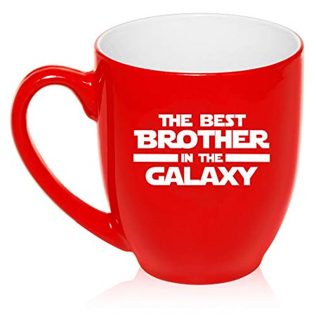16 oz Large Bistro Mug Ceramic Coffee Tea Glass Cup Best Brother In The Galaxy (Red)