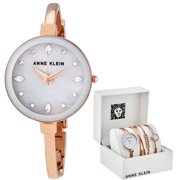 Anne Klein Light Grey Crystal Dial Ladies Watch Set AK/3402LGST