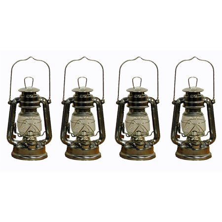 Lot of 4 - 8 Inch Silver Hurricane Kerosene Oil Lantern Hanging Light / Lamp