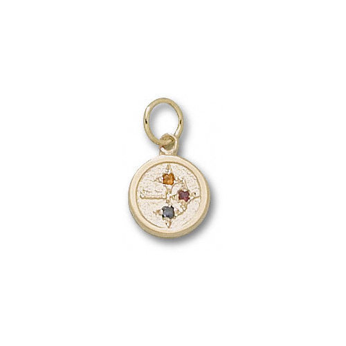 NFL - Pittsburgh Steelers 10K Gold Circle Logo With Colored Stones 3/8'' Pendant